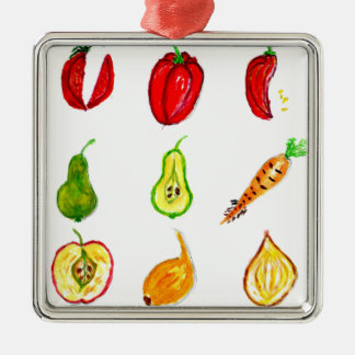 Fruits and Vegetables Art Silver-Colored Square Decoration