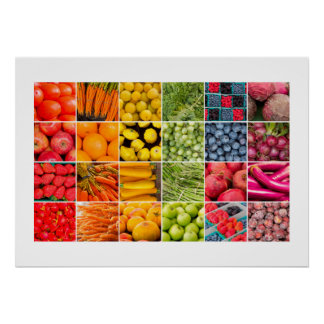 Fruits and Vegetables Collage Poster
