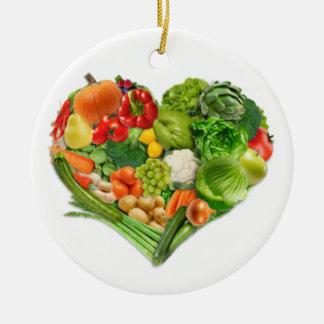 Fruits and Vegetables Heart - Vegan Round Ceramic Decoration
