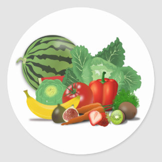 Fruits and vegetables round sticker