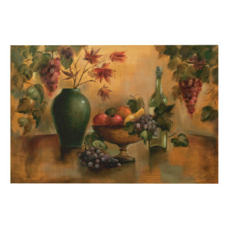 Fruits and Wine with Autumn Hues Wood Wall Decor