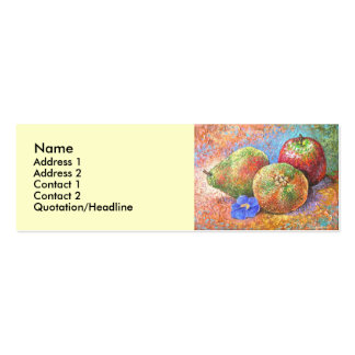 Fruits Apple Pear Mandarin Painting Art - Multi Double-Sided Mini Business Cards (Pack Of 20)