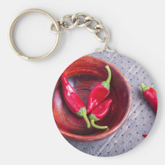 Fruits chilli hot red pepper basic round button key ring