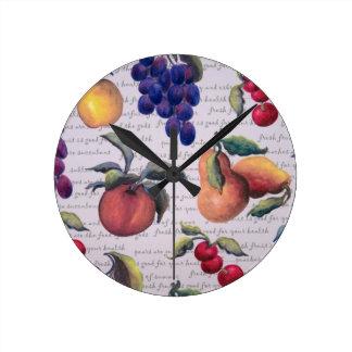 fruits round clocks