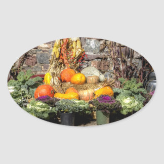 Fruits Of The Autumn Harvest Oval Sticker