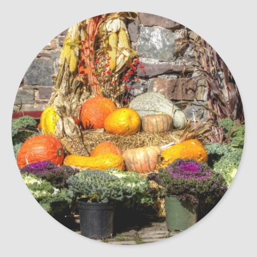 Fruits Of The Autumn Harvest Round Stickers