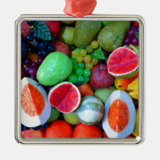 Fruits. Silver-Colored Square Decoration