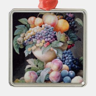 Fruits Silver-Colored Square Decoration