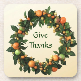 Fruits wreath Thanksgiving Cork Coaster