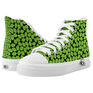 Fruity Green Limes,  Black Background to Customize High Tops
