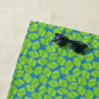 Fruity Green Limes on Blue Background to Customize Beach Towel