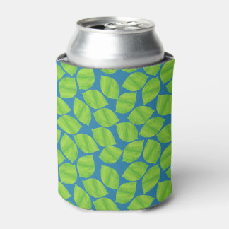Fruity Green Limes on Blue Background to Customize Can Cooler