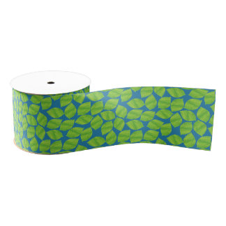 Fruity Green Limes on Blue Background to Customize Grosgrain Ribbon