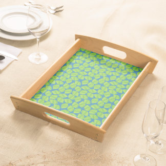 Fruity Green Limes on Blue Background to Customize Serving Tray