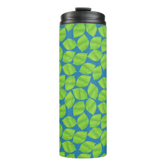Fruity Green Limes on Blue Background to Customize Thermal Tumbler