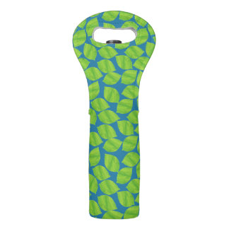 Fruity Green Limes on Blue Background to Customize Wine Bag