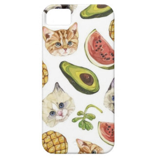 Fruity Kitty and Avocado iPhone 5/5S, Barely There iPhone 5 Cover