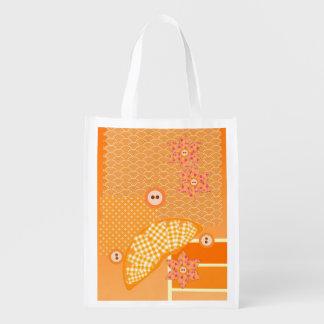 Fruity Orange Patchwork Decorative Scrapbook Reusable Grocery Bag