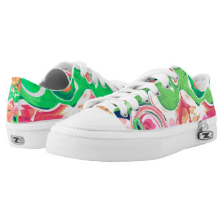Fruity swirls greens and reds printed shoes