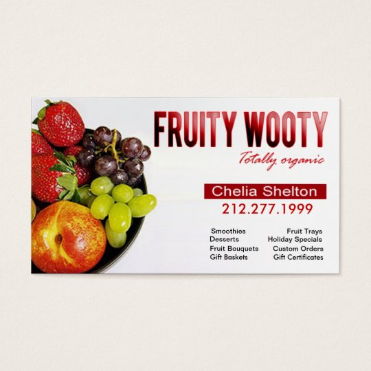 Fruity Wooty Totally Organic Fruit Desserts Business Card