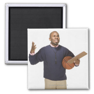 Frustrated basketball coach, on white background fridge magnets