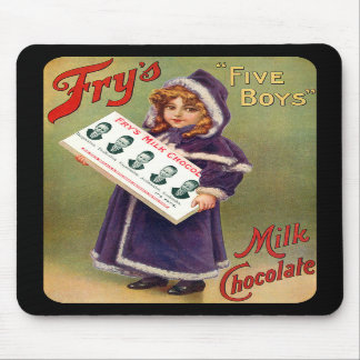 Fry s Five Boys Milk Chocolate Vintage Poster Mouse Pads