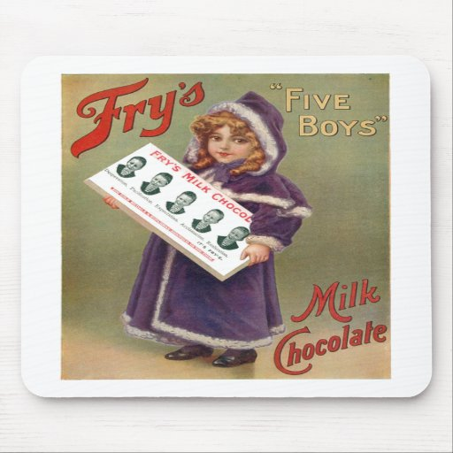 """Fry's """"Five Boys"""" Milk Chocolate Ad Sign Mouse Pad"""