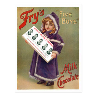 "Fry's ""Five Boys"" Milk Chocolate Ad Sign Postcard"