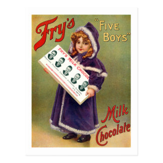 Fry's Five Boys Milk Chocolate Vintage Poster Post Card