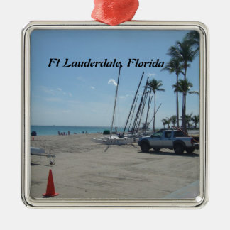 Ft Lauderdale Beach Silver-Colored Square Decoration