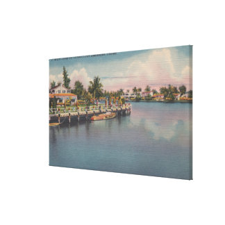 Ft. Lauderdale, Florida - Canal Scene Gallery Wrapped Canvas