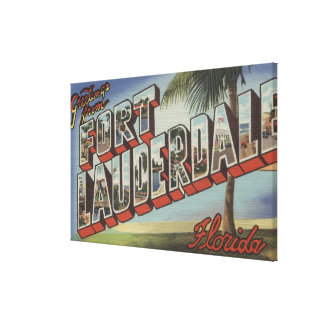 Ft. Lauderdale, Florida - Large Letter Scenes Canvas Print