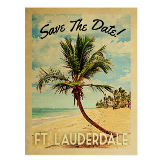 Ft Lauderdale Save The Date Beach Palm Tree Postcard