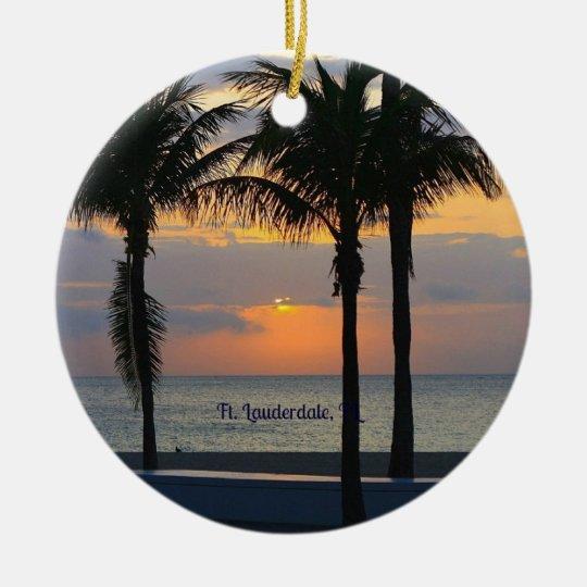 Ft. Lauderdale Sunrise Round Ceramic Decoration