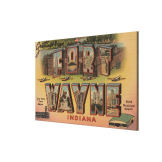 Ft. Wayne, Indiana - Large Letter Scenes Canvas Print