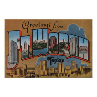 Ft. Worth, Texas - Large Letter Scenes Poster
