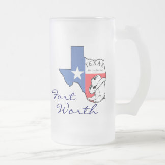 Ft Worth Texas State Map with Star, Boots, Hat Mug