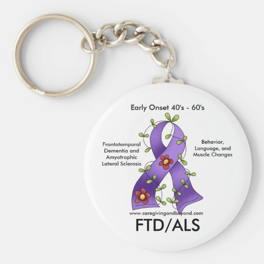 FTD/ALS Purple Ribbon Keychain