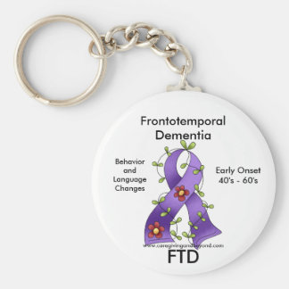 FTD, Frontotemporal Dementia Awareness Ribbon Basic Round Button Key Ring