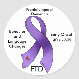 FTD, Frontotemporal Dementia Awareness Ribbon Round Sticker