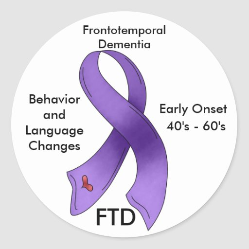 FTD, Frontotemporal Dementia Awareness Ribbon Round Stickers
