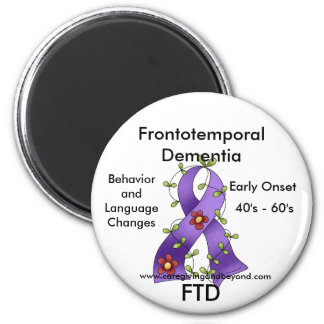 FTD, Frontotemporal Dementia Purple Ribbon Magnet