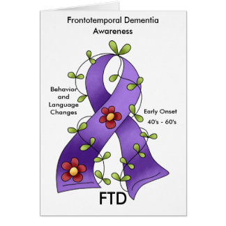 FTD Frontotemporal Dementia Purple Ribbon Notecard Note Card