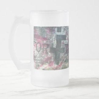 FTI Tye-Dye Stein 16 Oz Frosted Glass Beer Mug