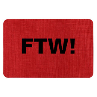 FTW monogram on Red Linen Texture Photo Rectangular Photo Magnet