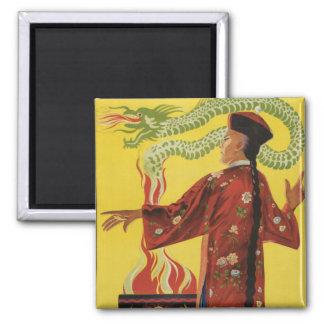 Fu-Manchu Magician Advertisement Square Magnet