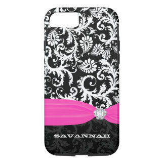 Fuchsi White Any Color Damask Printed Crystal iPhone 7 Case