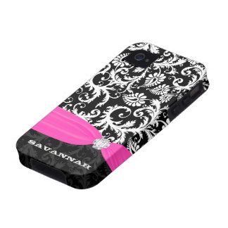 Fuchsi White Plus Any Color Damask Printed Crystal Case-Mate iPhone 4 Case