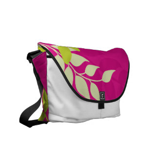 Fuchsia and Apple Green Mod Vines Messenger Bags