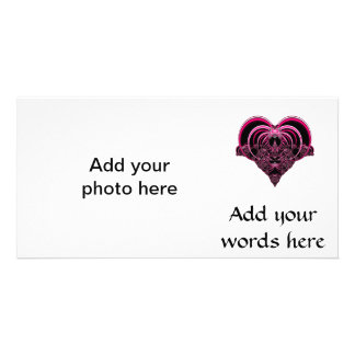 Fuchsia and black fractal heart personalized photo card